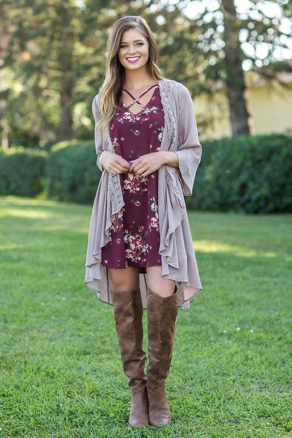 Forever Mine Taupe Lace Long Cardigan