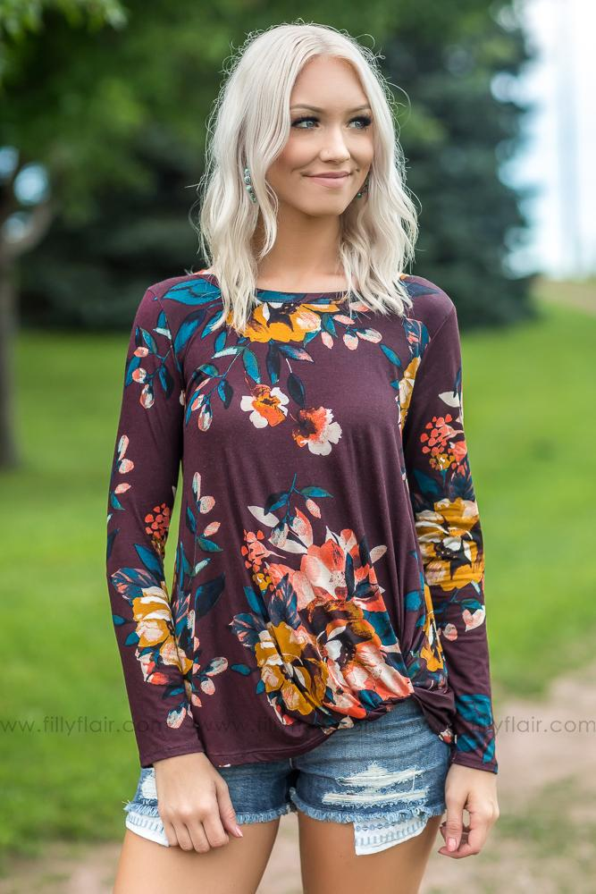 Forever Girl Floral Long Sleeve Knotted Top in Wine - Filly Flair