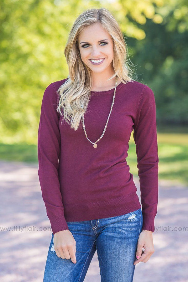 burgundy pull over sweater