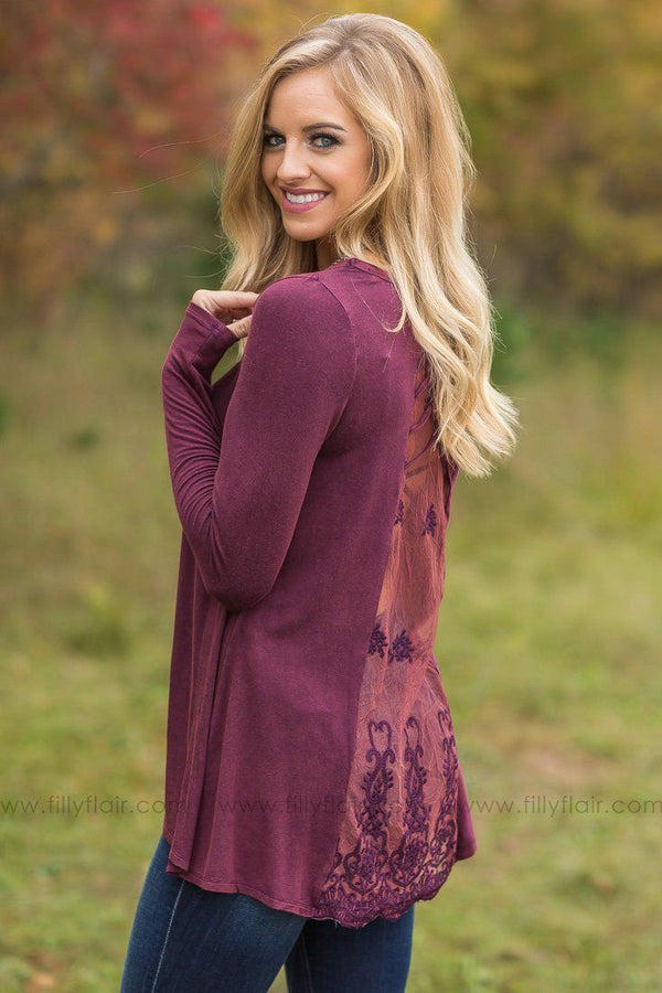 The Metro Long Sleeve Lace Detail Back Top in Burgundy