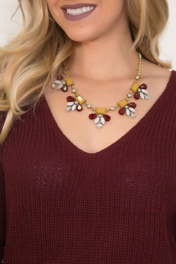 Burgundy Ivory Mustard Half Flower Gold Necklace