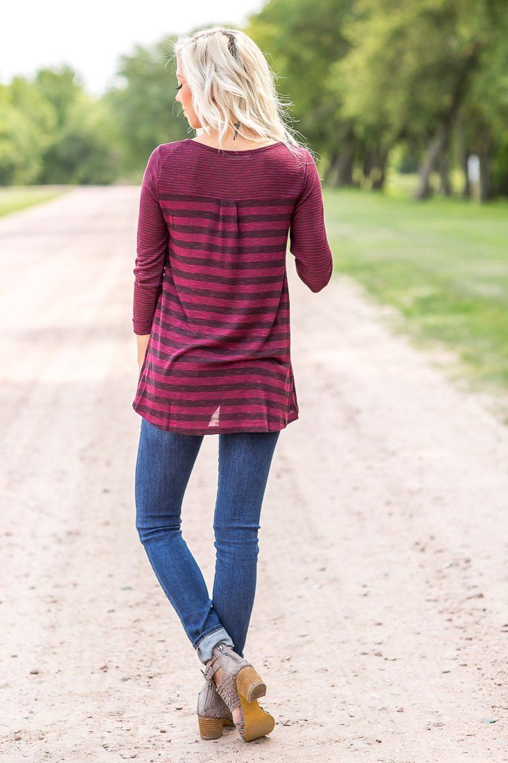 casual burgundy tops