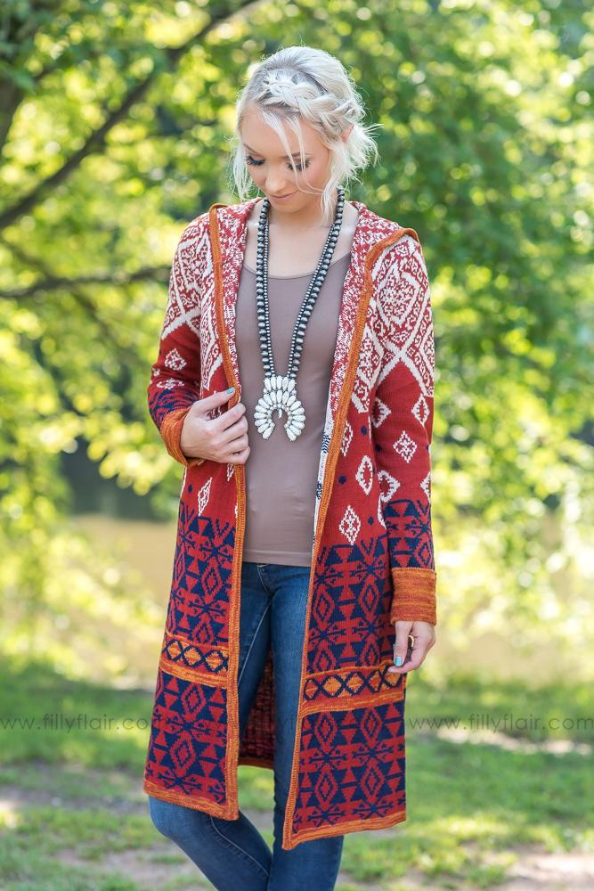 Dreamy Days Rust Long Sweater Cardigan - Filly Flair