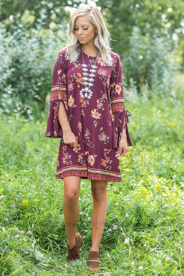 Fine in Wine Floral Bell Sleeve Tunic Dress - Filly Flair