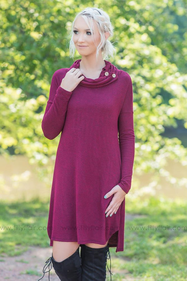 Somebody To Love Button Cowl Neck Dress in Heather Burgundy - Filly Flair