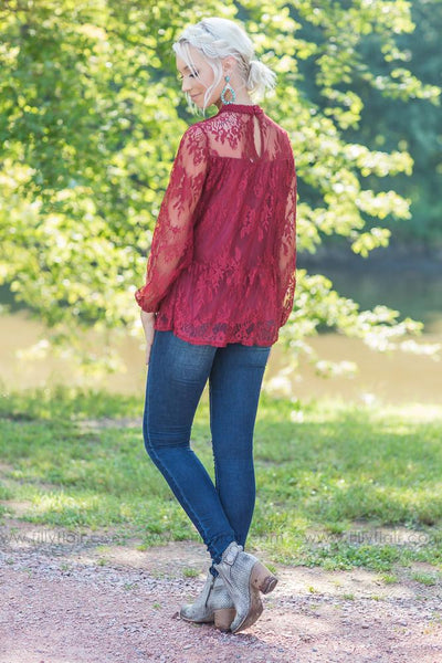 Love in Lace Long Sleeve Top in Burgundy - Filly Flair