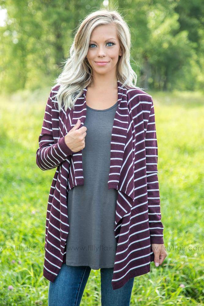 More Like Her Striped Waterfall Open Sweater Cardigan in Burgundy - Filly Flair