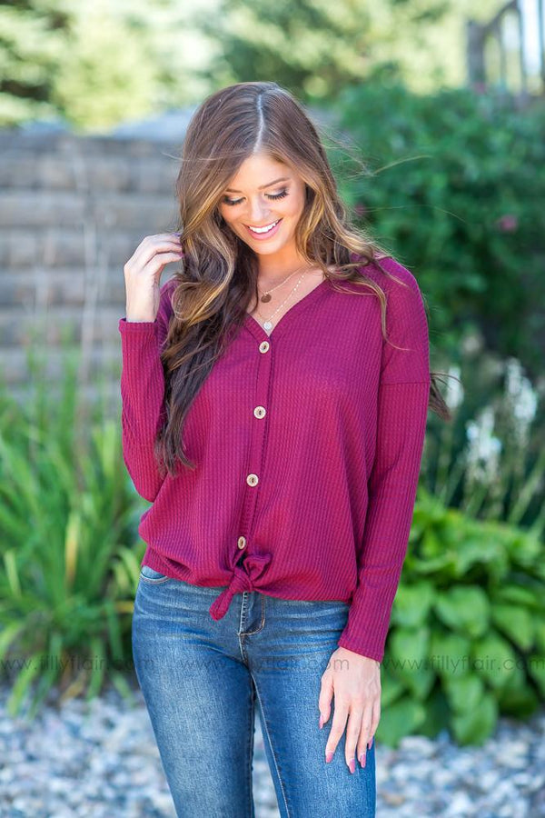 Thermal Nights Button Up Top in Burgundy - Filly Flair