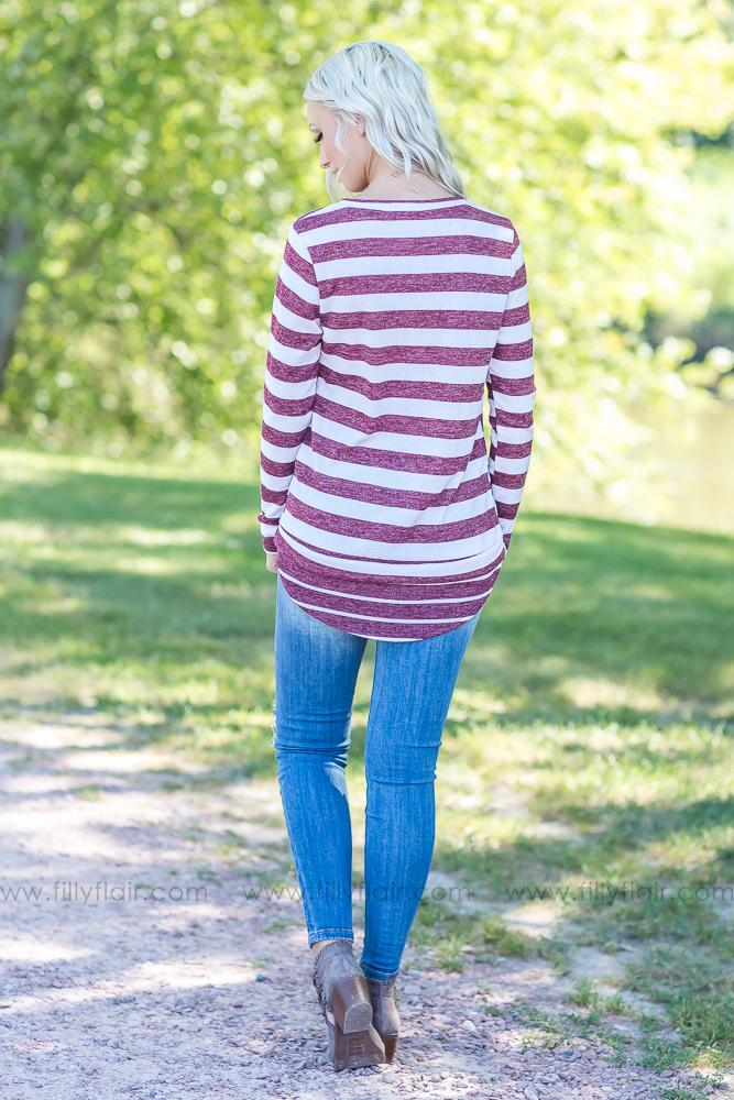 Looking For Love Ivory Burgundy Striped Top - Filly Flair
