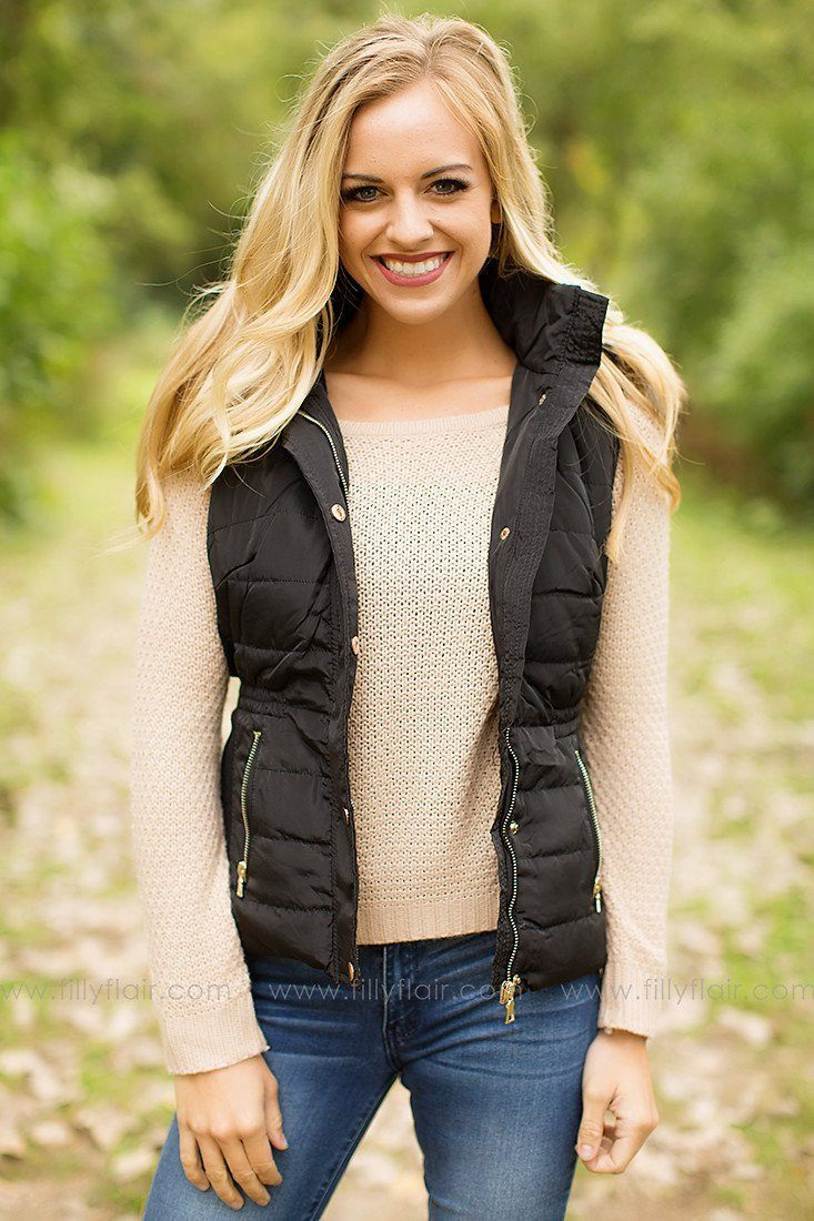 Winter's End Hooded Vest in Black