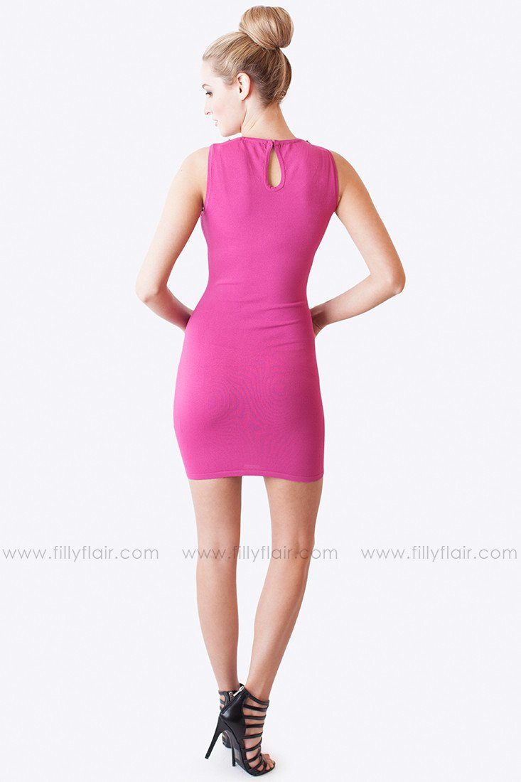 Moving on Up Pencil Dress in Fuchsia