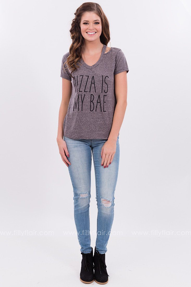 Pizza is My Bae Cut Out Tee in Charcoal