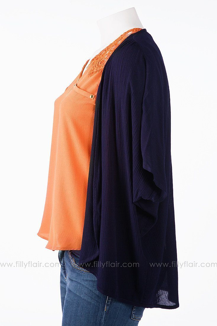 Simply Said Cardigan in Navy: Plus