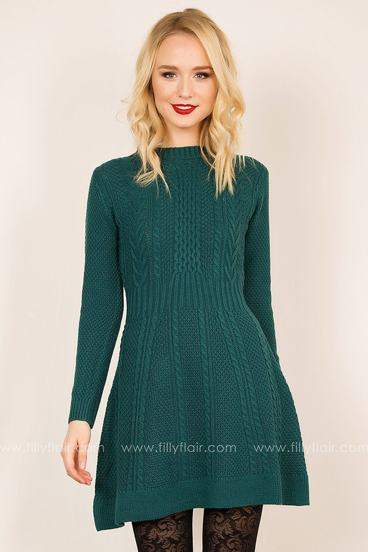 Level Out Sweater Dress in Teal