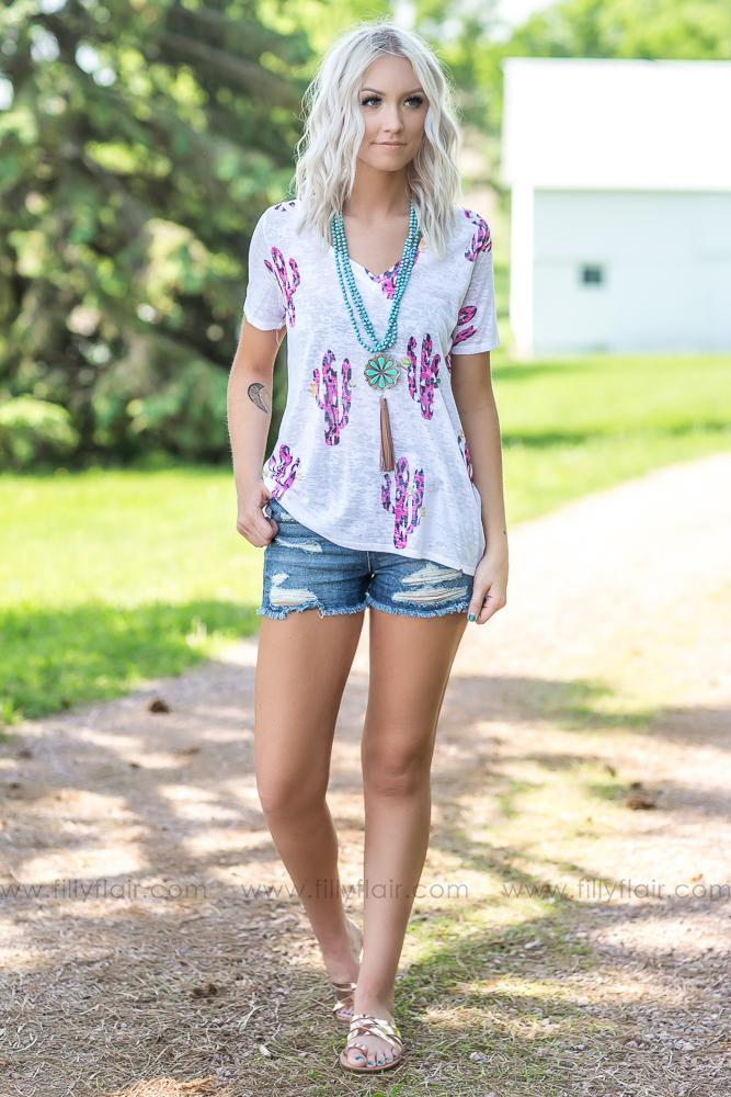 Wildly Free Leopard Cactus Print Top In Pink White - Filly Flair