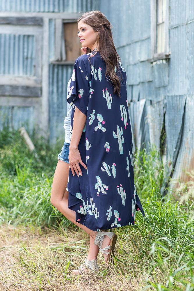 Better Run Cactus Print Long Kimono In Navy - Filly Flair