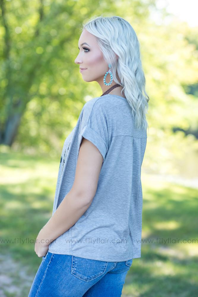 In The Desert Cactus Top in Heather Grey - Filly Flair