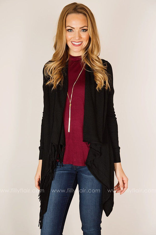 Peaceful Moment Drape Front Cardigan in Black