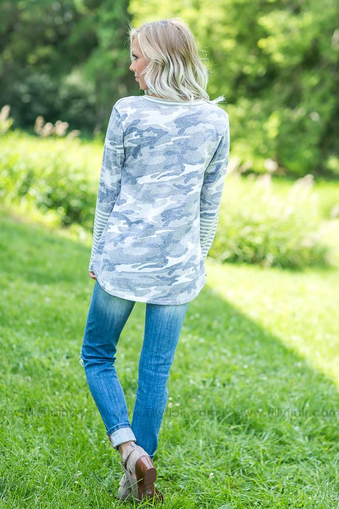 Call You Home Long Sleeve Top in Grey Camo - Filly Flair