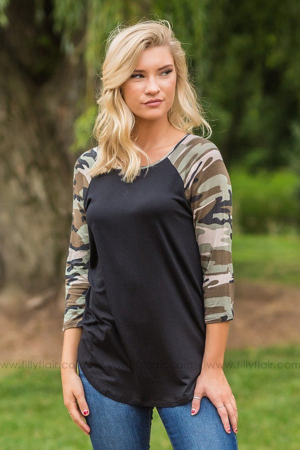 Easy Does it Black and Camouflage Top