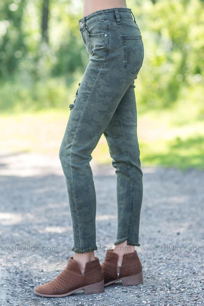Camo Girl Distressed Pants - Filly Flair