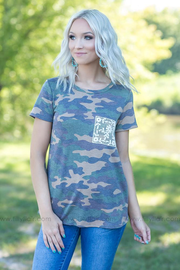 Lost In My Mind Camo Tee with Crochet Pocket - Filly Flair