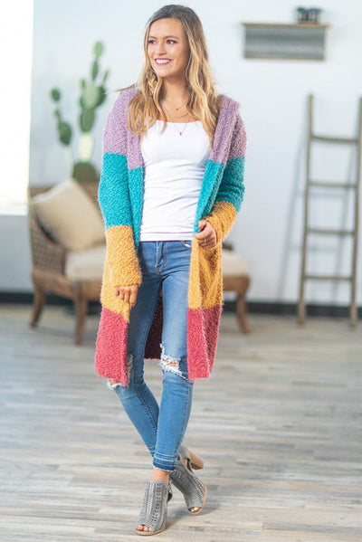 Chasing Rainbows Color Block Hooded Cardigan - Filly Flair