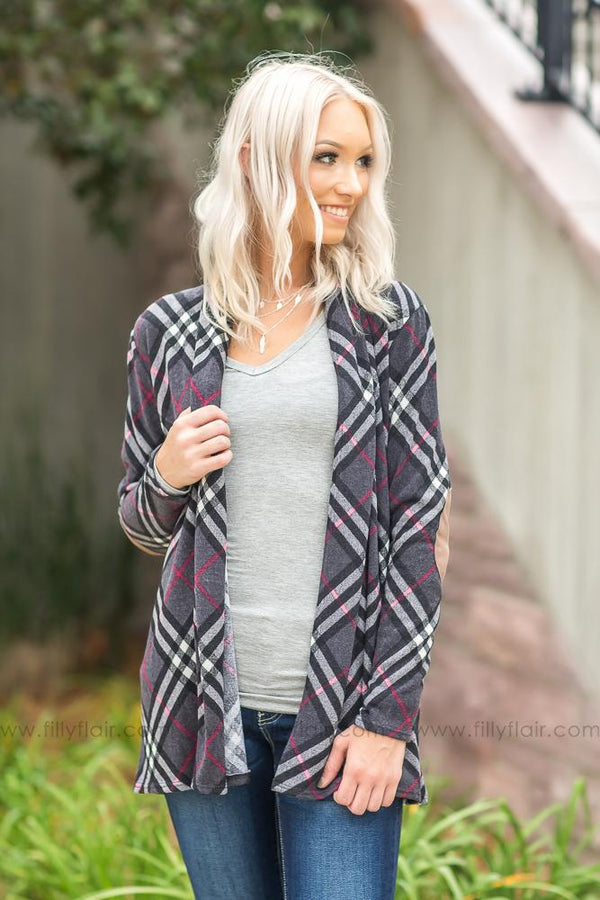Easy Come Charcoal Plaid Cardigan with elbow patches - Filly Flair