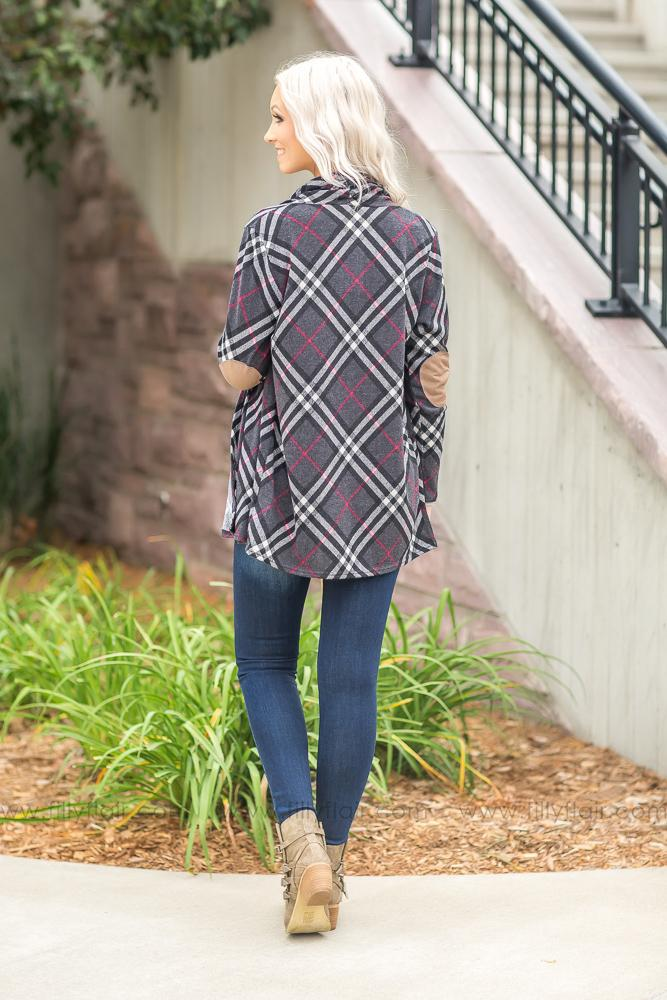Easy Come Charcoal Plaid Cardigan With Suede Elbow Patches - Filly Flair
