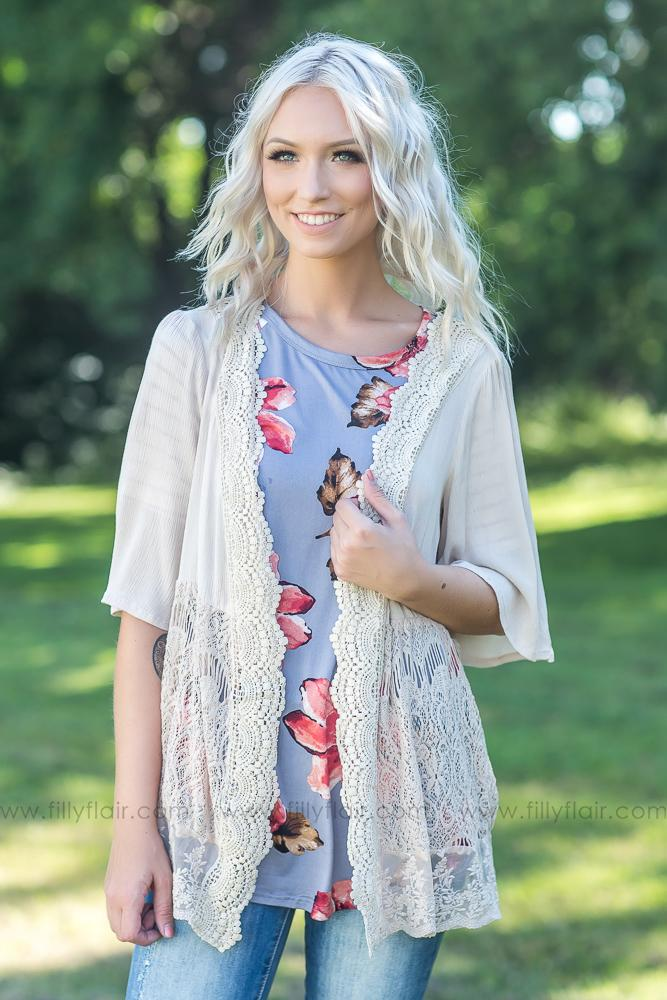 Every Last Detail Lace Cardigan in Taupe - Filly Flair