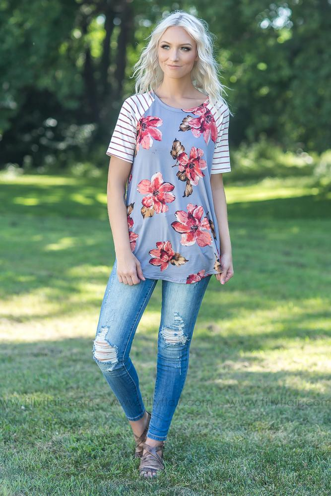 Surrendered in Floral Short Sleeve Top - Filly Flair