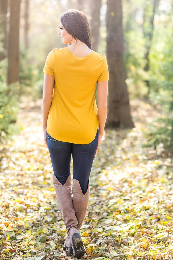All My Days Short Sleeve Criss Cross Top in Mustard - Filly Flair