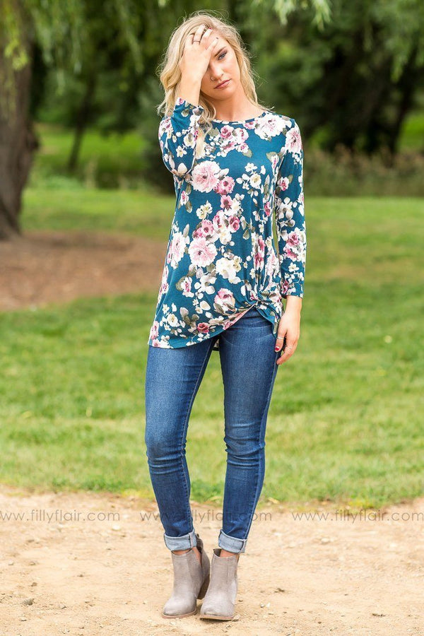 All Knotted Up Teal Floral Long Sleeve Top