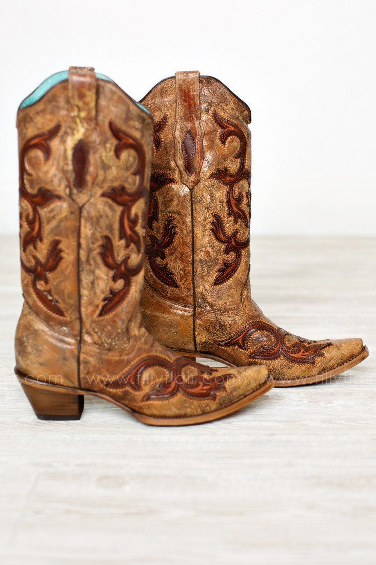 Cognac and Brown Patches Western Boots By Corral