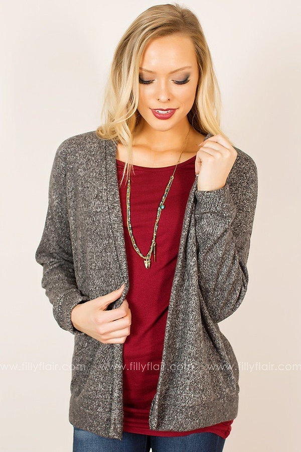 Taken Aback Cardigan in Charcoal
