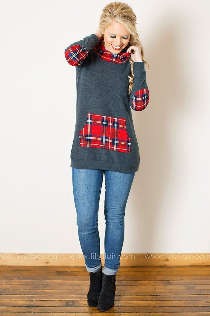 Think Fast Plaid Accent Sweatshirt in Charcoal