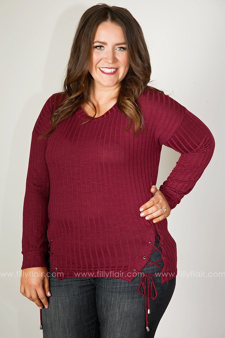 Easy Afternoon Lace-Up Long Sleeve Top in Burgundy
