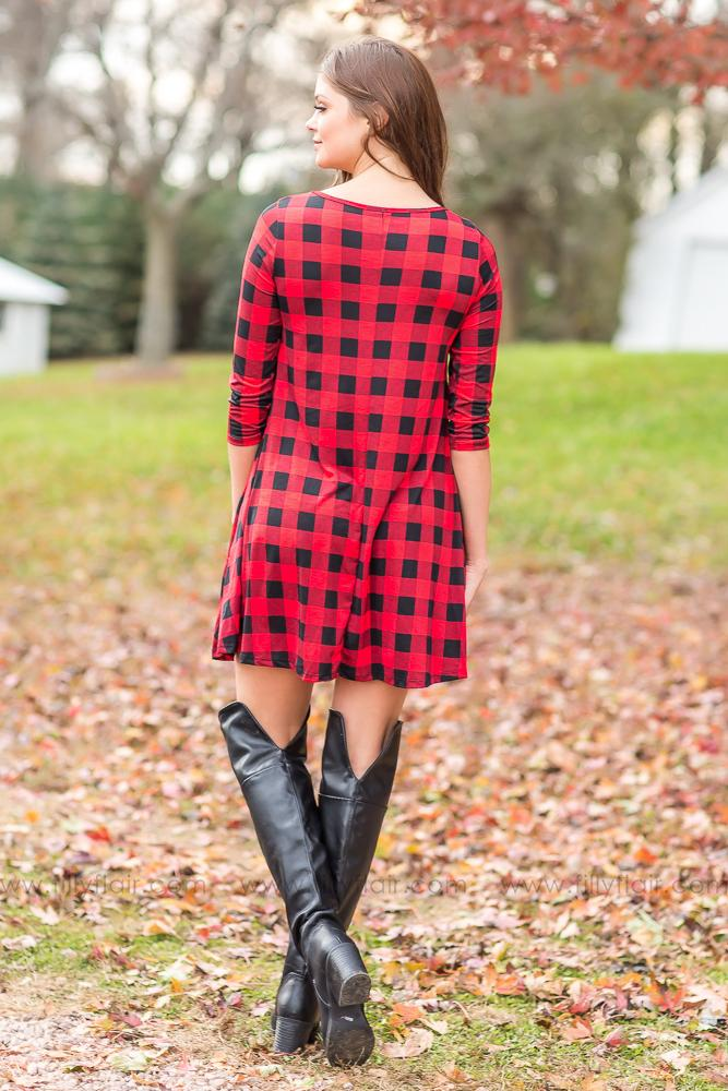 I'm The One 3/4 Sleeve Buffalo Plaid Criss Cross Dress In Red - Filly Flair