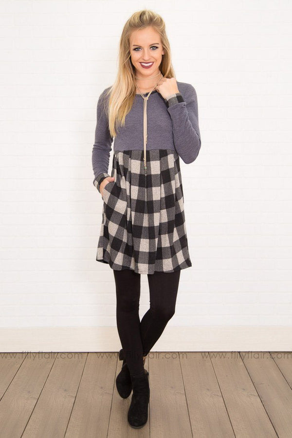 Charcoal Long Sleeve Black Grey Checkered Bottom Mini Dress