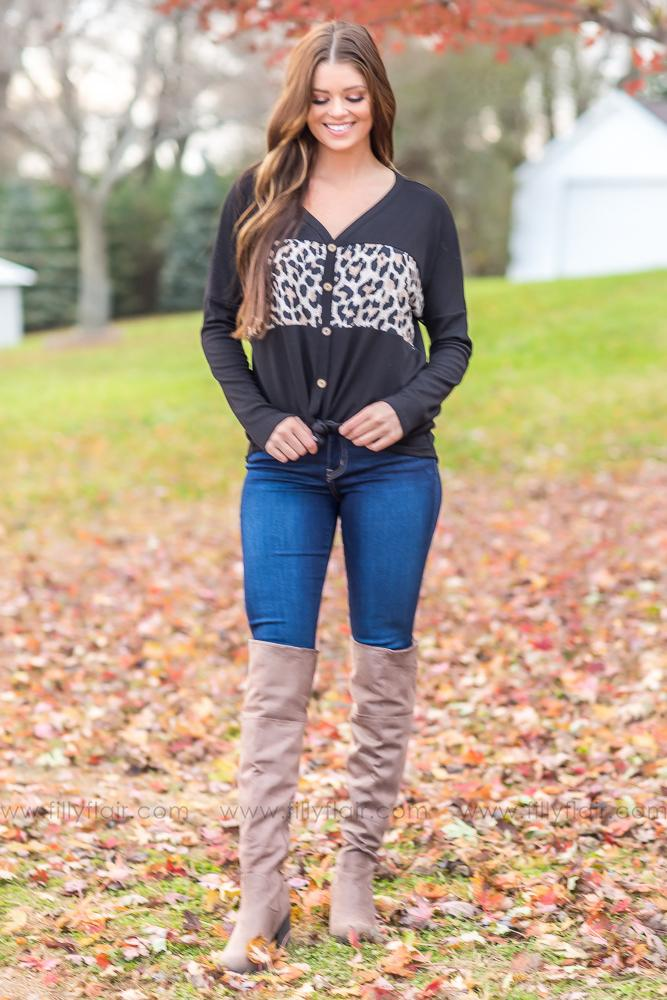How It Is Leopard Color Block Waffle Top In Black - Filly Flair
