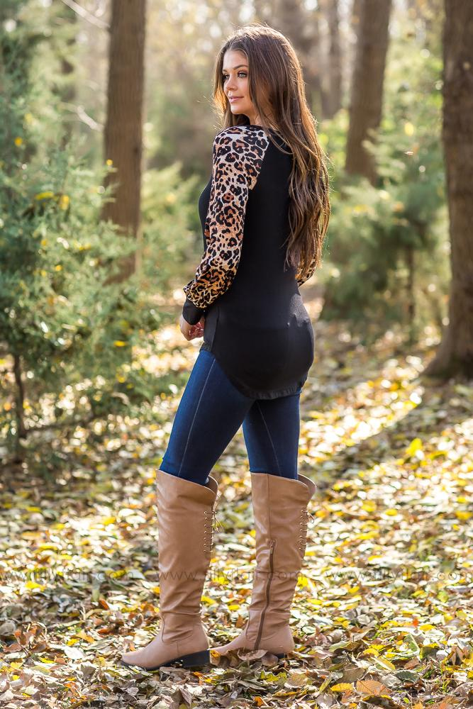 Step Into The Wild Leopard Top in Black - Filly Flair