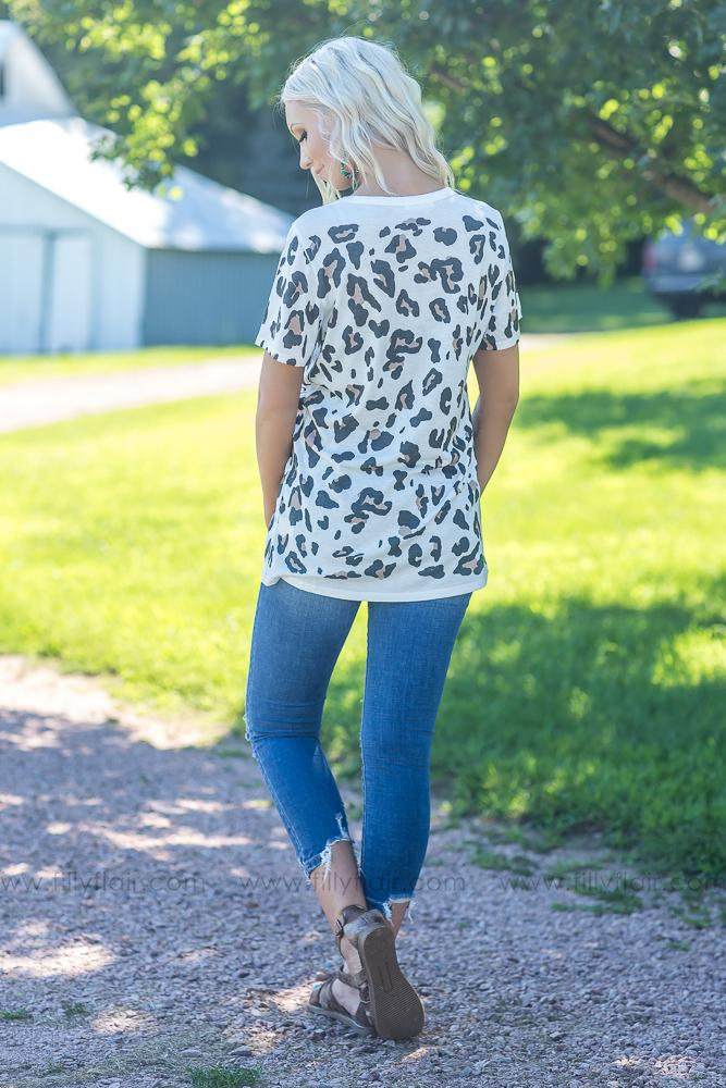 Honey I'm Home Leopard Print Deep V Top in Ivory - Filly Flair