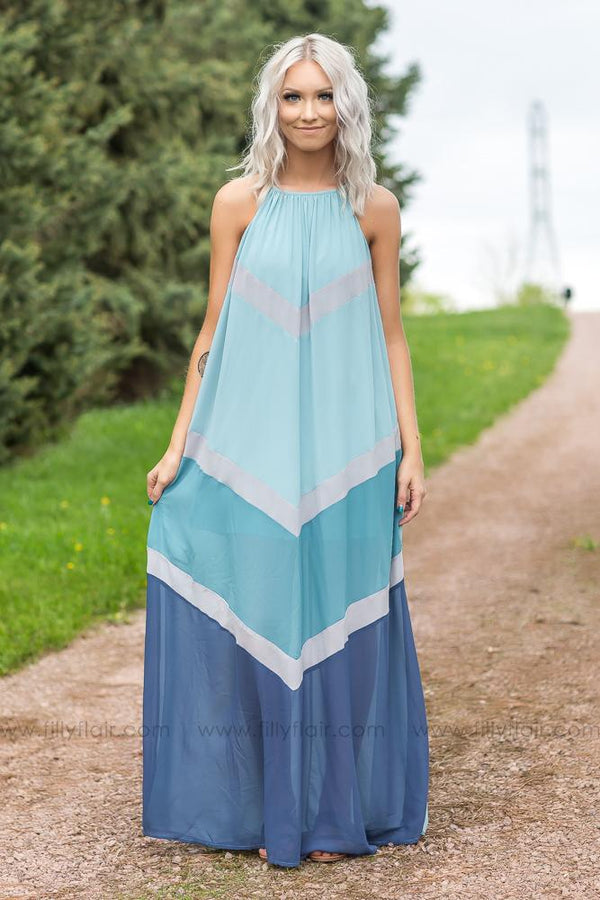 Skies Are Blue Sleeveless Maxi Dress In Blue