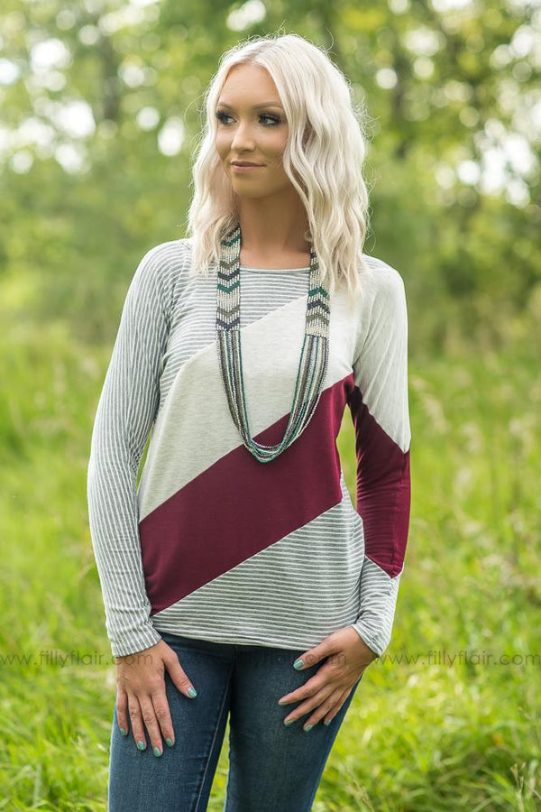Blurred Lines Burgundy Sweater - Filly Flair