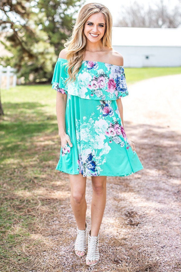 Too Much Fun Off The Shoulder Dress in Mint