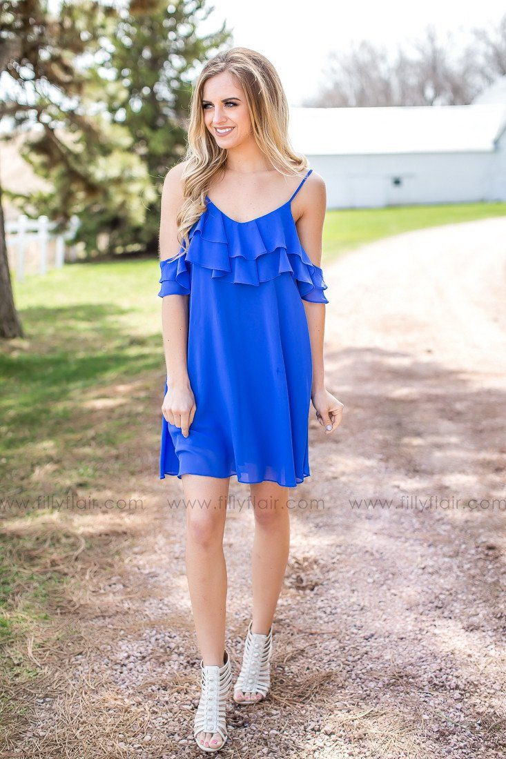 I Found You Ruffle Dress in Blue