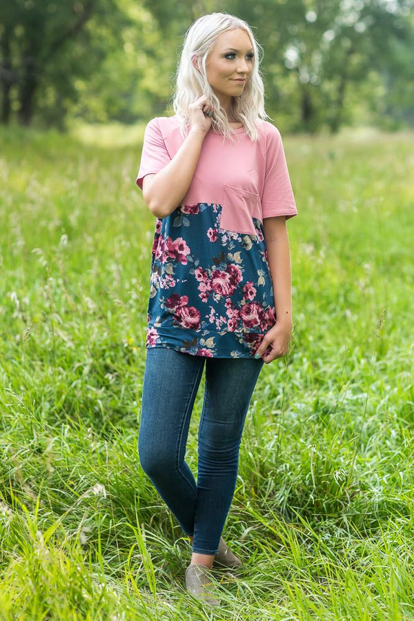Colorblock Dreams Mauve and Teal Color Block Floral Tee - Filly Flair