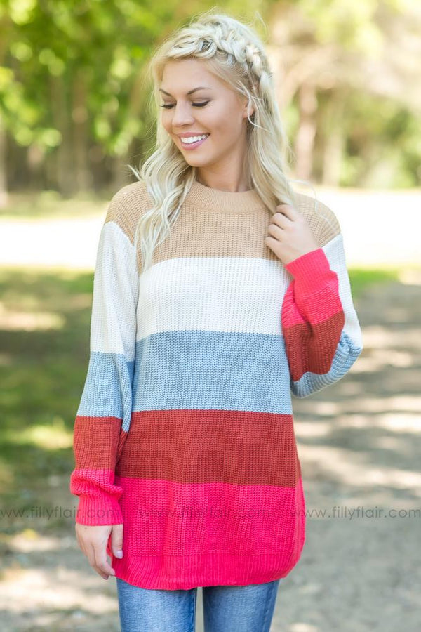 Feel This Way Multi Color Striped Sweater