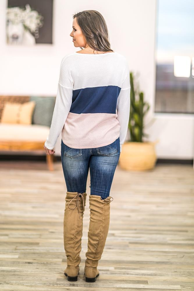She's Beautiful Color Block Waffle Top in White Navy Pink - Filly Flair