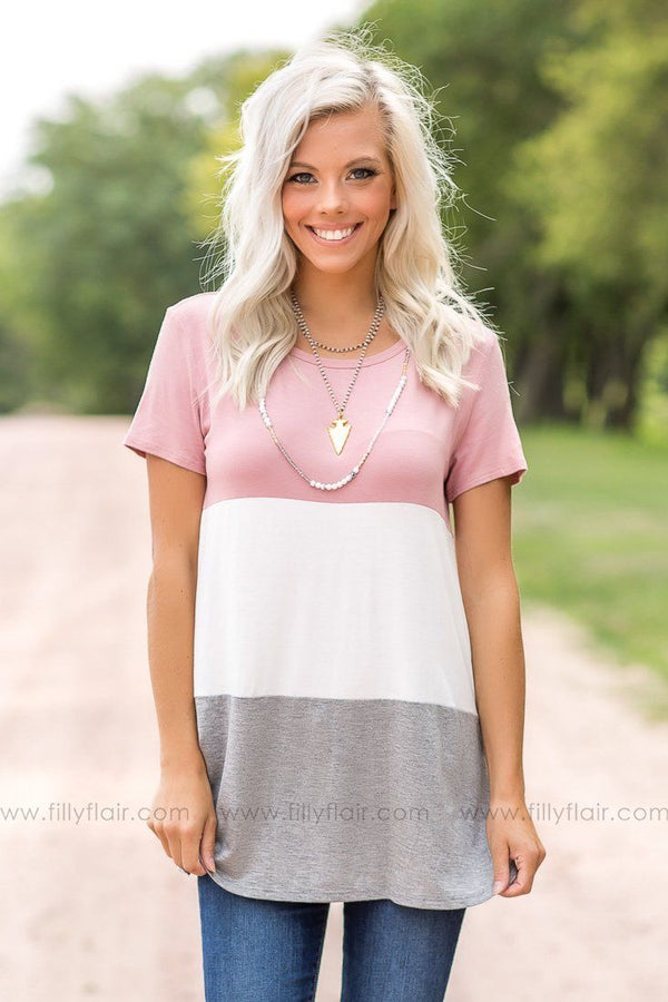 Sweet Dreams Mauve Color Blocked Top